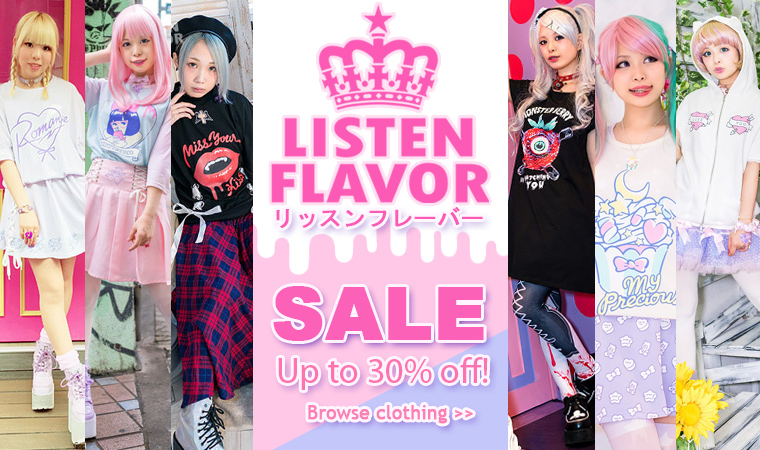 LISTEN FLAVOR sale - up to 30% off on authentic Japanese Harajuku clothing