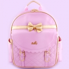 Scalloped Bow Gold Trim Backpack - Lav